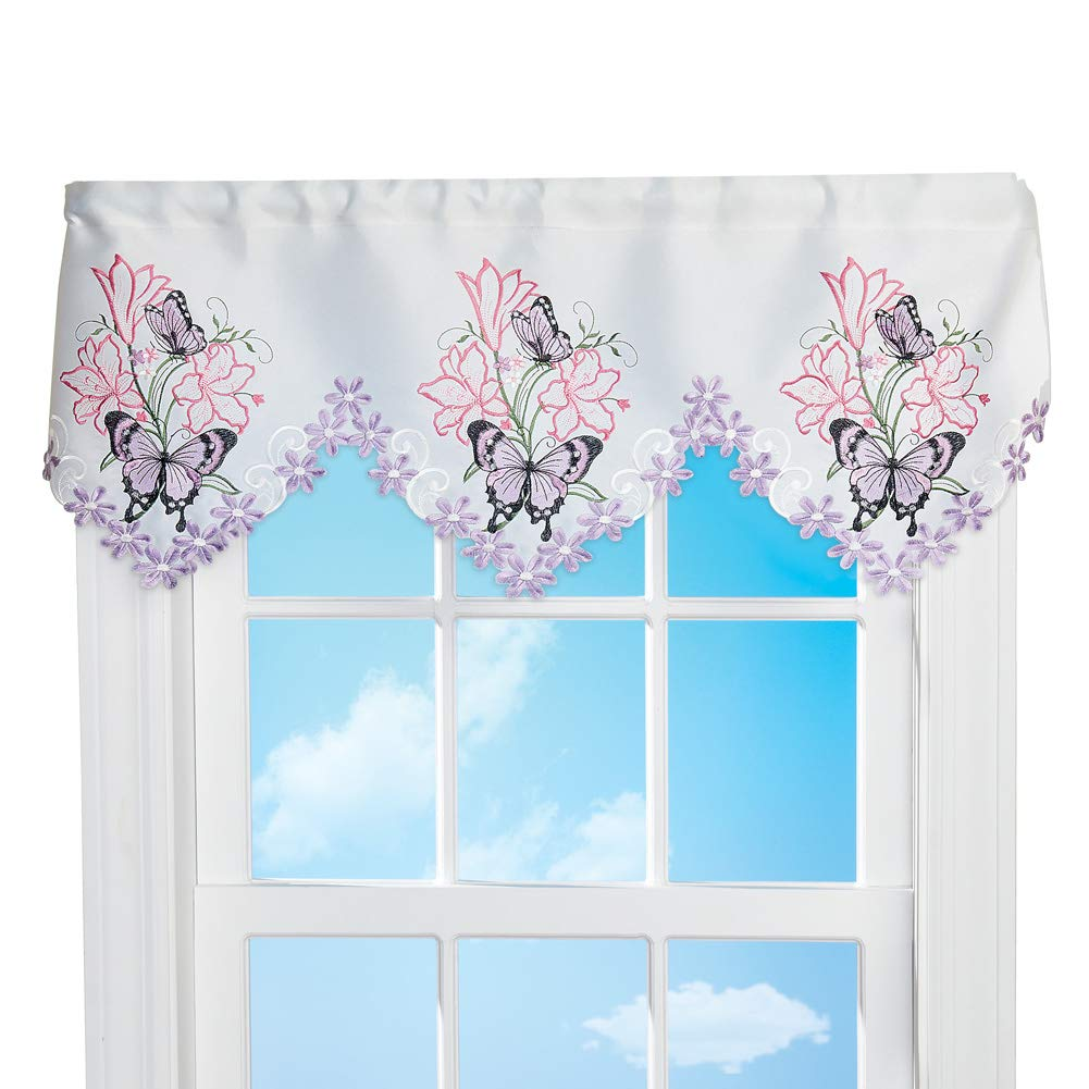 Collections Etc Lilies and Butterfly Cutout Window Valance - Seasonal Window Accent for Any Room in Home, Lavender