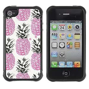 Híbridos estuche rígido plástico de protección con soporte para el Apple iPhone 4 / 4S - pink 420 weed cannabis fruit