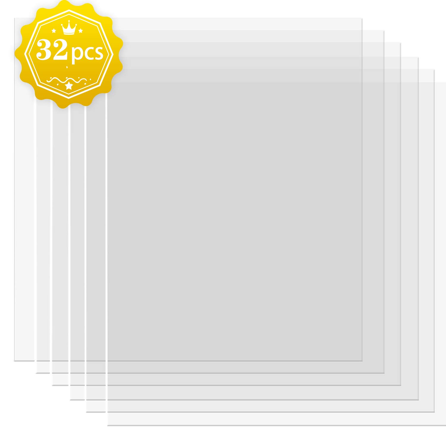 32 Pack 4 mil Blank Stencil Material Mylar Blank Sheets for Stenciling Airbrush Painting Tracing Fabric Templates,12 x 12 Inch by BYMORE