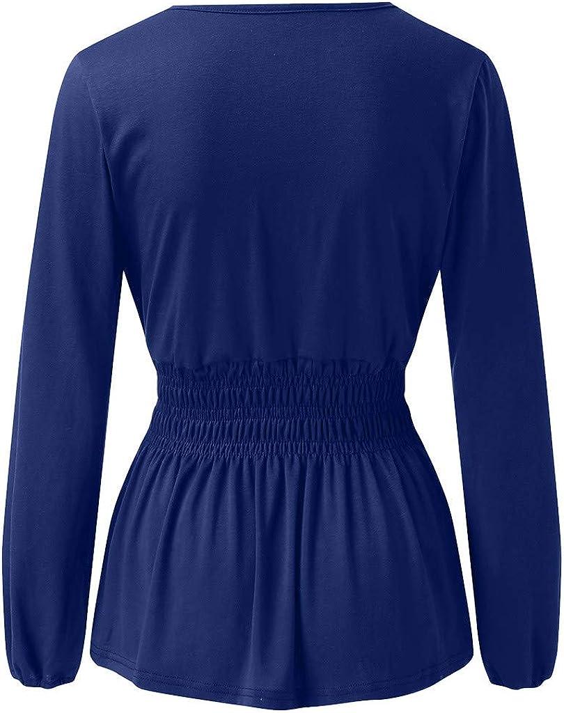 OFEFAN Womens V Neck Lantern Long Sleeves Tunic Smocked Waist Ruffle Hem Blouses Tops