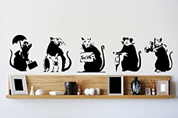 Banksy Collection Of RATS X 5 Graffiti Art Large Vinyl Wall Stickers By Broomsticker