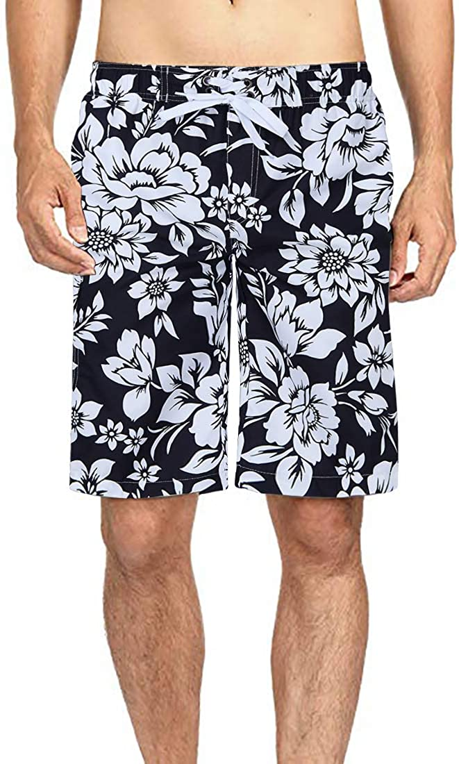 Leapparel Mens Swim Trunks Quick Dry Summer Surf Beach Board Shorts with Side Pockets No Mesh Lining