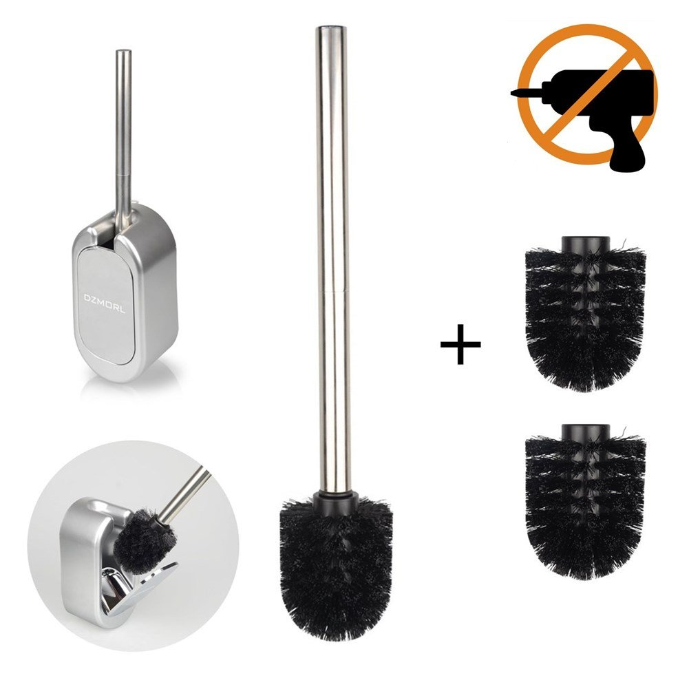 Toilet Brush and Holder, 3M Adhesive Toilet Brush with Stainless Steel Handle, ABS Base for Bathroom Toilet, Sliver OSEETAR