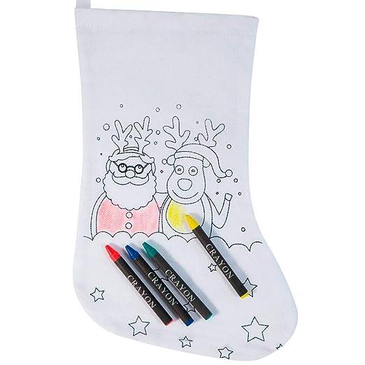 Lote 20 Calcetín para Colorear diseño Navidad, con 4 Ceras ...