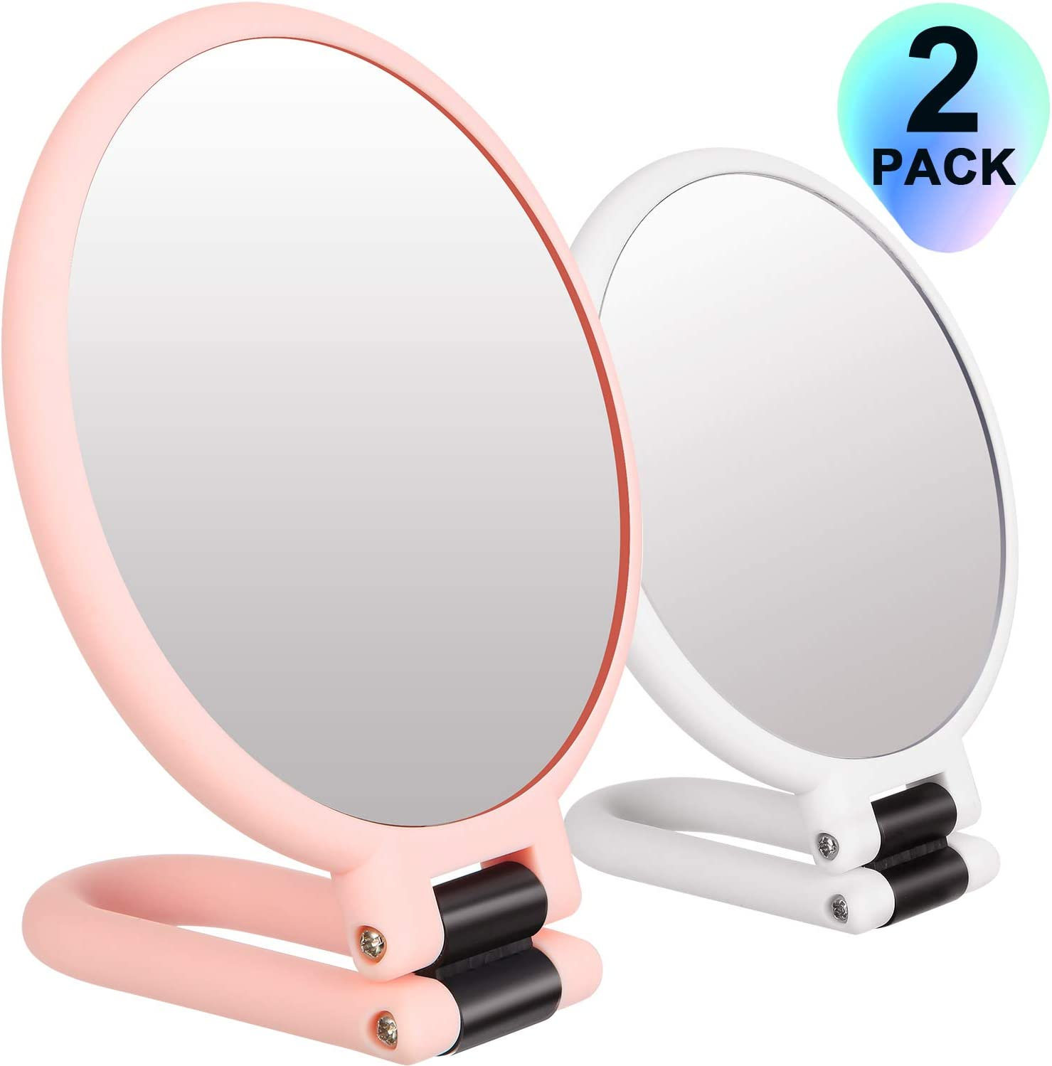 Frienda 2 Pieces 1x 15x Handheld Double Sided Magnifying Makeup Mirror Folding Makeup Mirror with Stand High Definition Magnified Mirror for Home Travel White and Pink