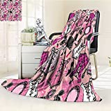 YOYI-HOME Soft Warm Cozy Throw Duplex Printed Blanket Accessories Sexy Corset Perfume Bottles Shoes Lipstick Mirror Roses Pattern Pink Black Anti-Static,2 Ply Thick,Hypoallergenic/W47 x H31.5