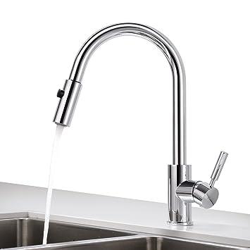BONADE Messing Küchenarmatur Ausziehbar Wasserhahn Küche mit Brause ...