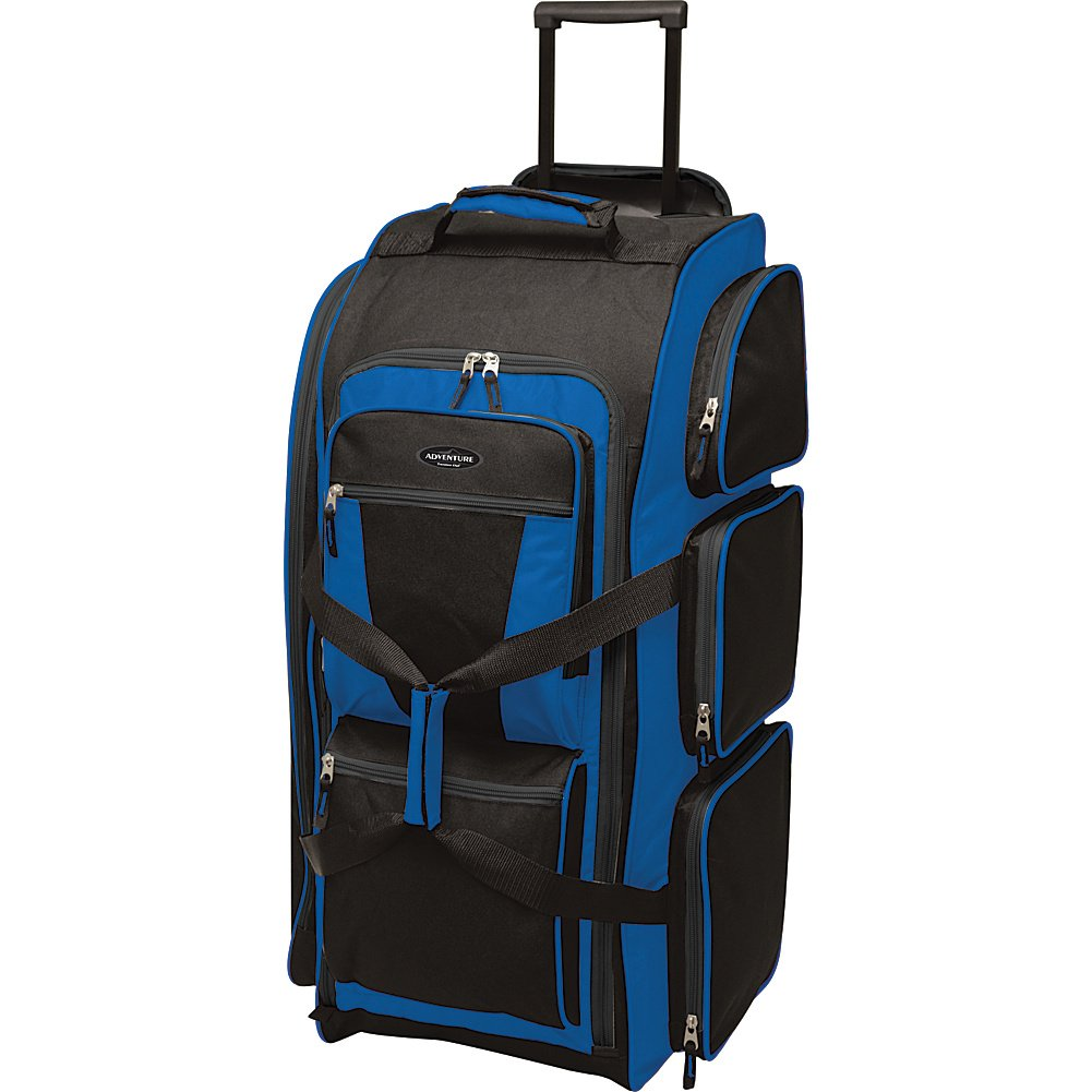 Travelers Club Luggage Adventure 30 Inch Rolling Multi-Pocket Upright Neon Duffel Bag, Blue, One Size