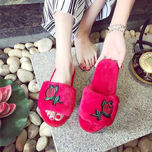 Rot Gummi Hausschuhe Weich Toe Rot Peep Slipper Hausschuhe Flach Damen bestellen Plüsch Schwarz Blume größer Bitte Grau Transer® Stickerei eine Nummer Oqw7RB