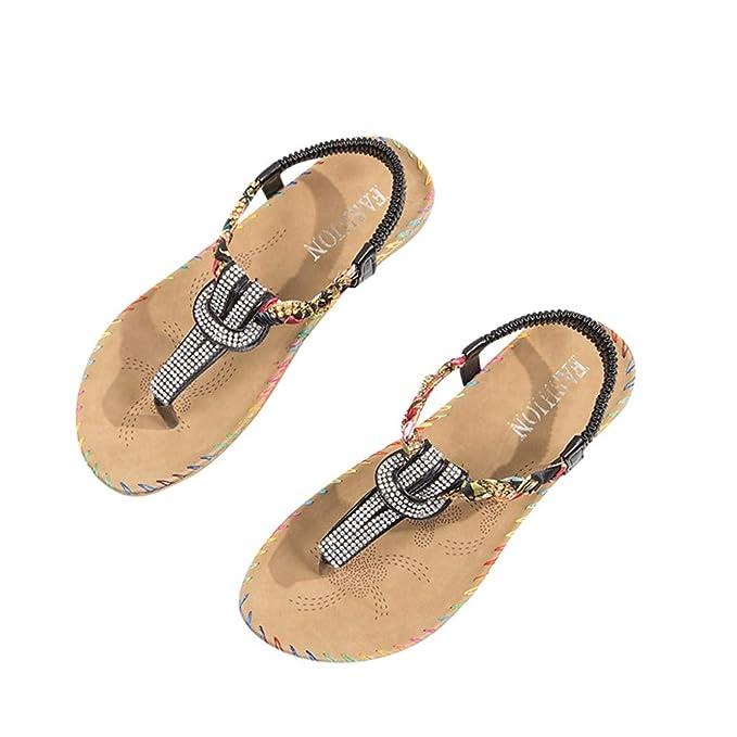 ❤ABsoar Sandalias de Mujer Talla Grande Sandalias Romanas Zapatillas de Hebilla Señoras Sandalias Planos Tobillo Playa Zapatos Zapatillas Romanas Chanclas ...