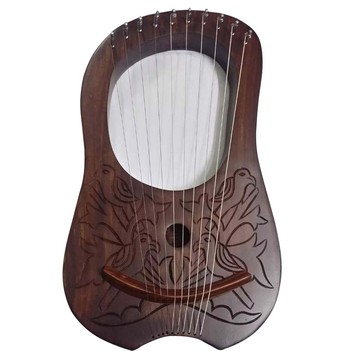 Lira (Arpa 10de madera de palisandro cuerdas de metal grabada/palisandro Lyra–Arpa AJW