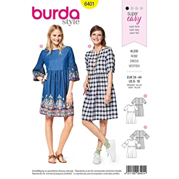 Amazon.com: Burda Style Sewing Pattern B6401 - Misses\' Swing Dress ...