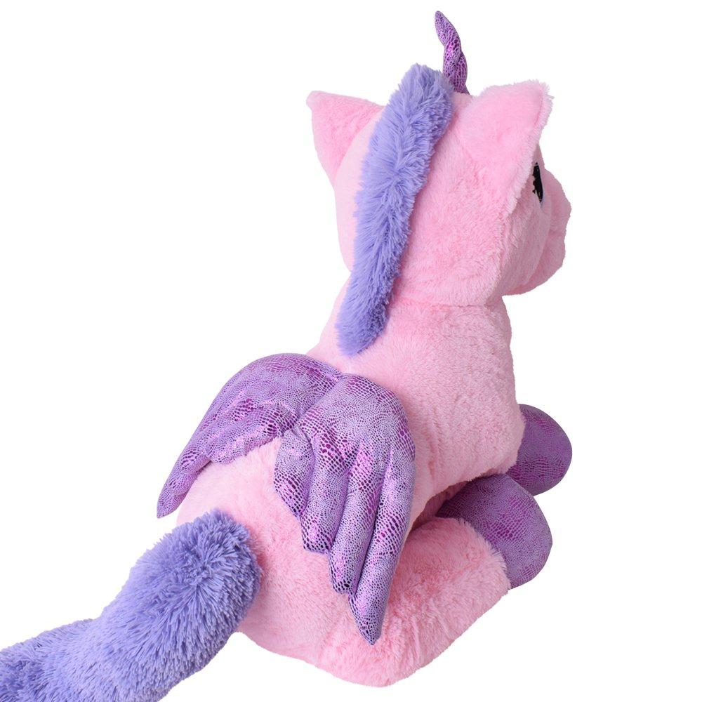 TE-Trend XXL PELUCHE CABALLO UNICORNIO unicorn peluche tumbado 130cm Púrpura glitzerhorn Grandes Ojos Rosa: Amazon.es: Juguetes y juegos