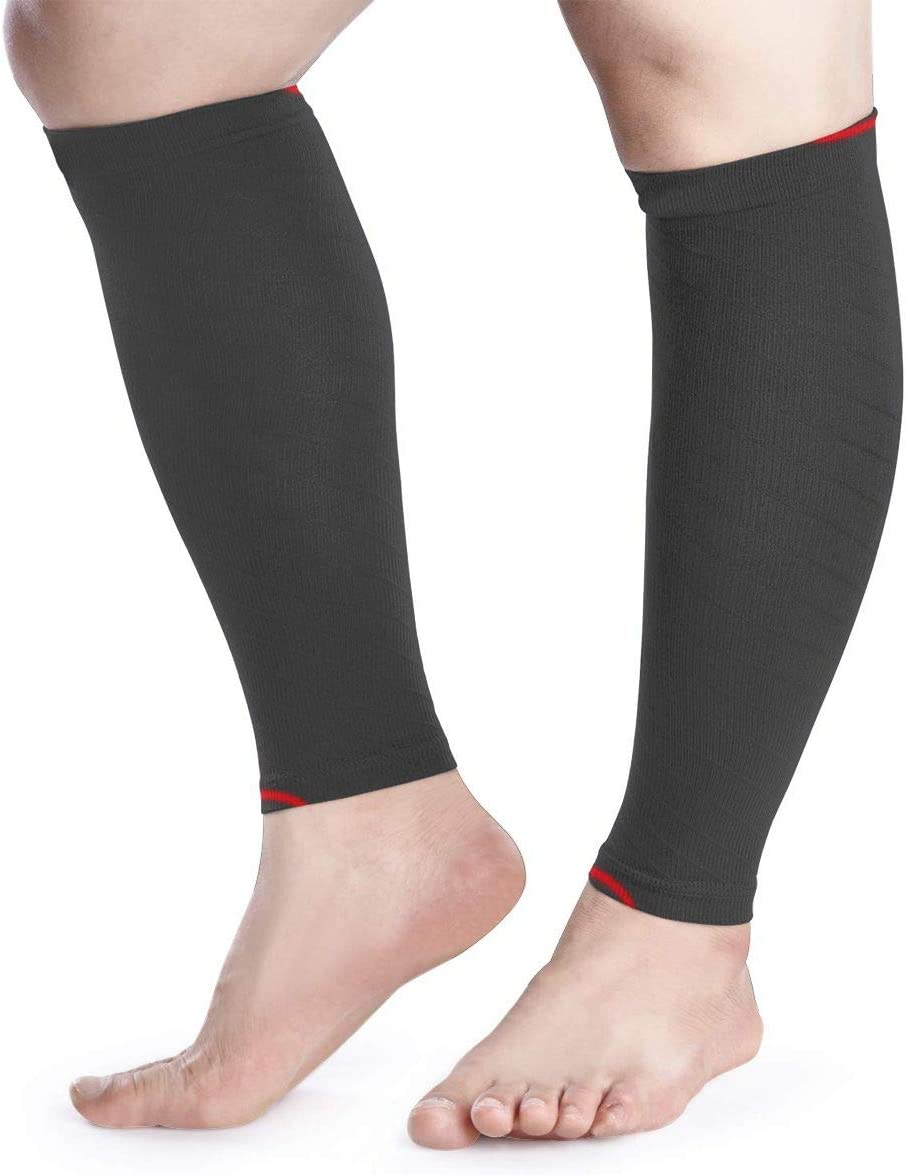 Blongtai Black Background Red Lines Calf Compression Sleeve Men Womens Running Leg Sleeve For Shin Splint Muscle Pain Relief (1 Pair)