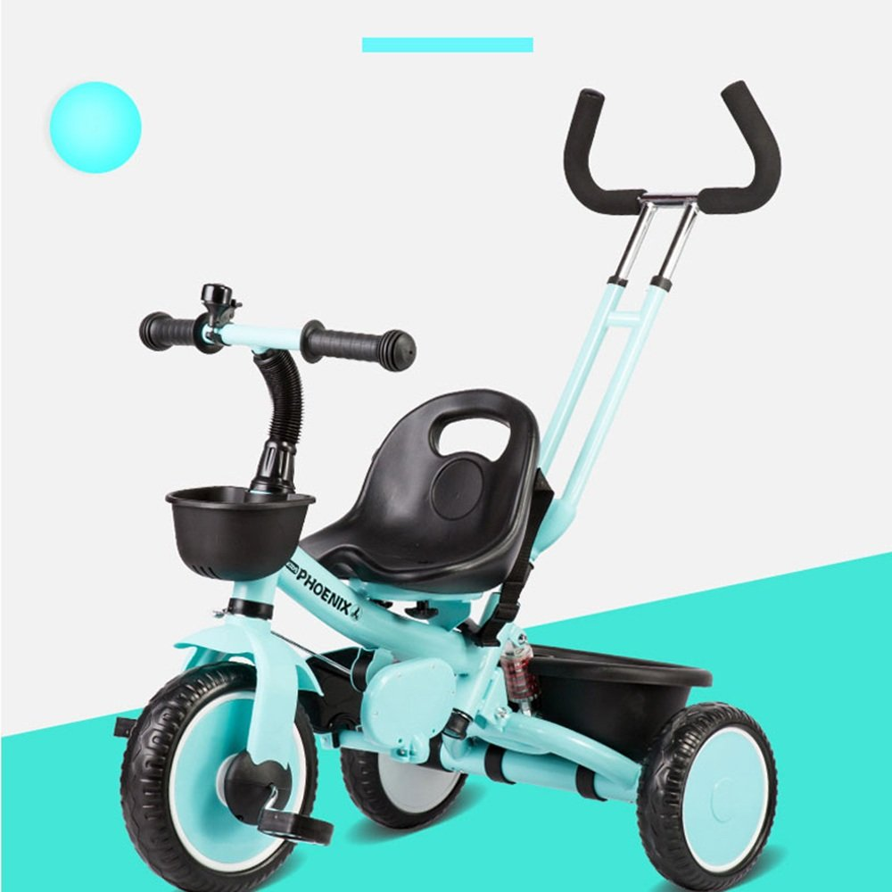 マチョン 自転車 パターハンドル付き子供用三輪車の取り外し可能な三脚 B07DS7D8JM緑