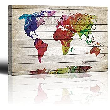 Amazon urban watercolor world map by michael tompsett 22x32 wall26 watercolor fine art world map rustic wood panel painting canvas art home decor 32x48 inches gumiabroncs Images