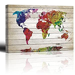 wall26 – Watercolor World Map Rustic Painting – Canvas Art Wall Decor – 16″x24″