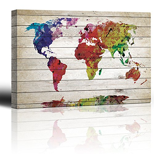 Wall26 Watercolor Fine Art World Map   Rustic Wood Panel Painting   Canvas  Art Home Decor   16x24 Inches
