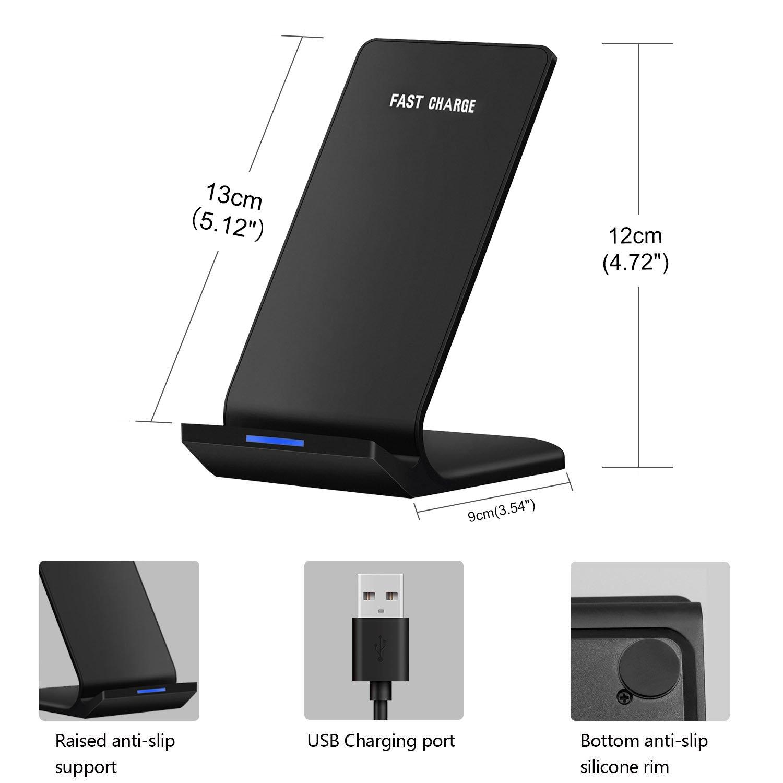 Cargador Inalámbrico Rápido Qi Cargador inalámbrico Soporte Tablet para Samsung Galaxy Note 8 S8 S8 Plus S7 Edge S7 S6 Edge Plus Note 5, Cargo ...