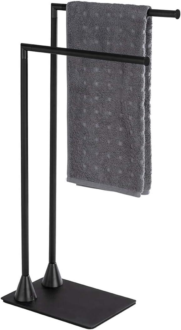 Yellowshop Set piantana porta asciugamani e porta rotolo colore nero opaco mod Porta Asciugamani Tibet