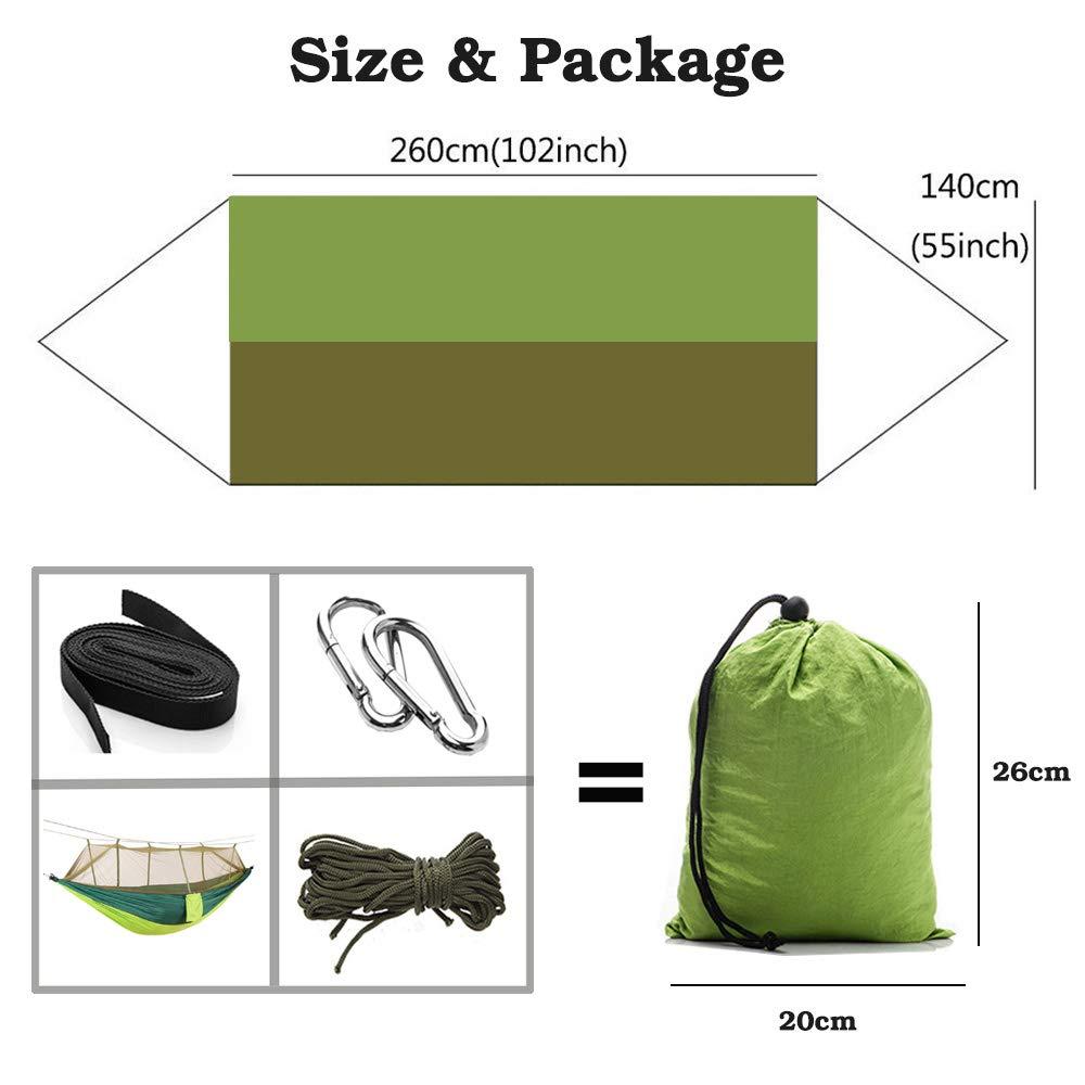 Lightweight Portable Parachute Nylon Hammock for Camping,Travel,Hiking Backpacking,Beach,Yard Yard.Light Green PREAX Double Camping Hammock with Mosquito Net Anti-mosquito