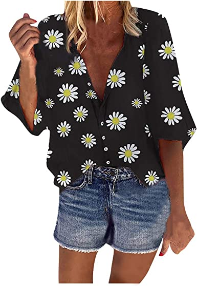Women Long Sleeve Button Casual Floral Top Blouse Loose Tunic T Shirt Plus Size
