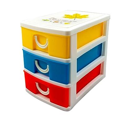 391594 Mini cajonera de 3 Pisos WELKHOME Plástico multicolor ...