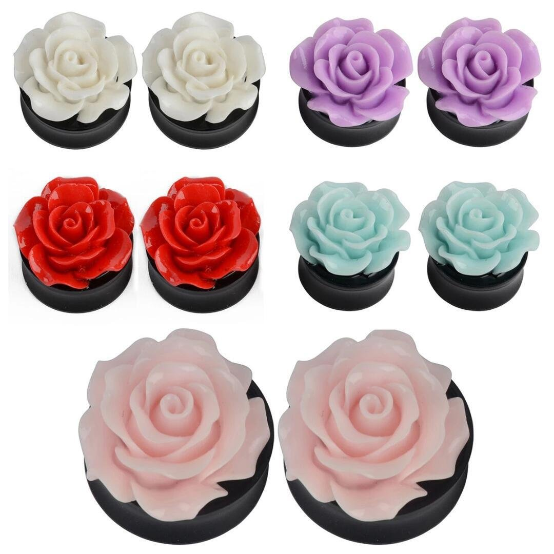5 Pairs Acrylic Rose Assorted Color Flower Ear Plugs Expander Piercing (8mm=0G)