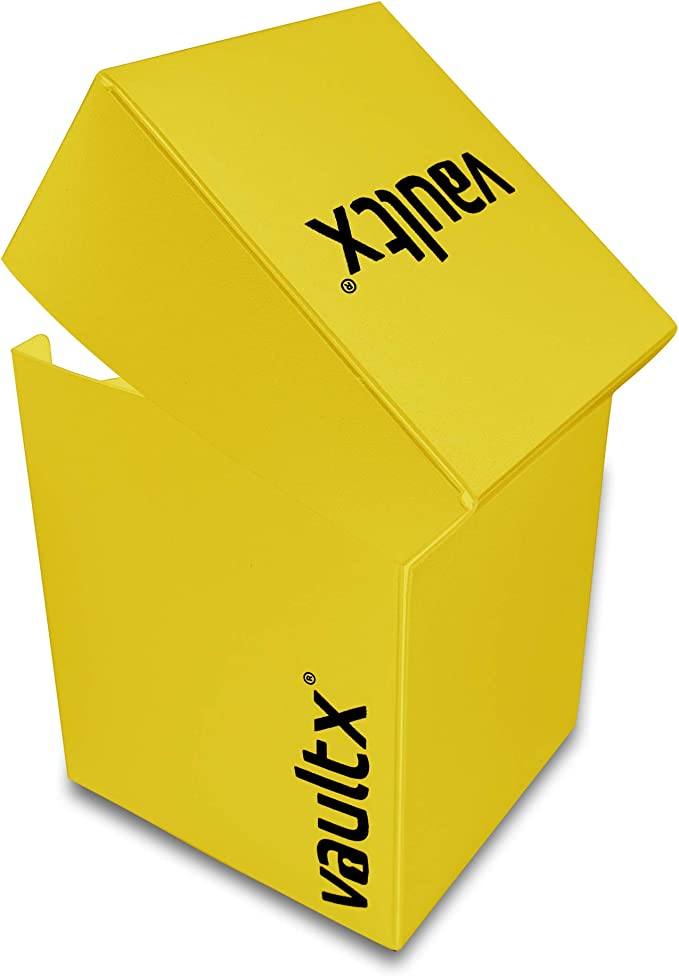 Vault X® Caja Grande de Cartas con 150 Fundas Negras - Tamaño Grande para 100+ Cartas en Fundas - Porta Tarjetas Libre de PVC para TCG (Amarillo): Amazon.es: Juguetes y juegos