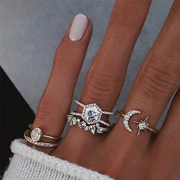 scarpe da ginnastica sito ufficiale guarda bene le scarpe in vendita Yean - Set di anelli a forma di luna con cristalli, anelli per ...