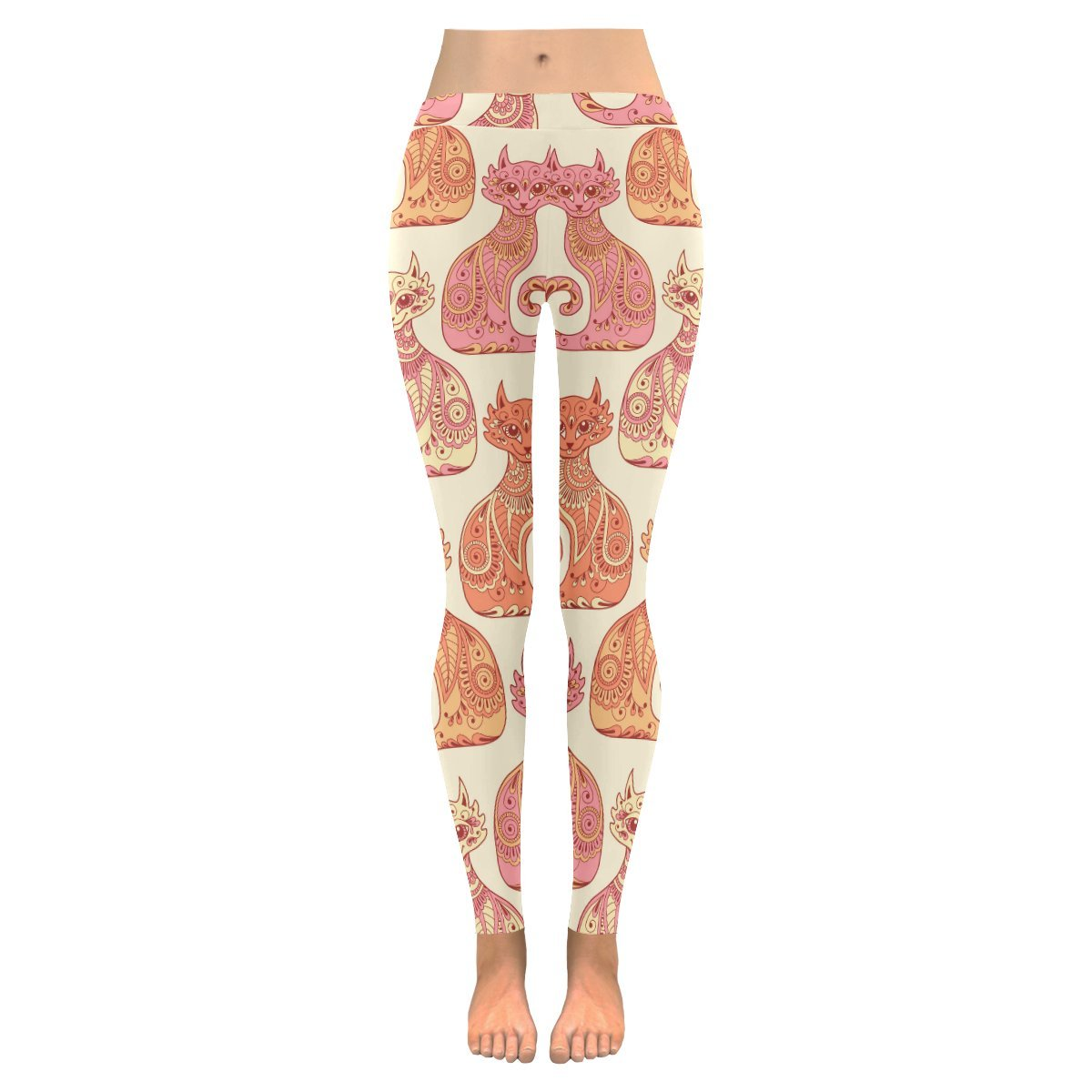 InterestPrint Beautiful Cats in The Ethnic Style Womens Outdoor Leggings:XXS-5XL