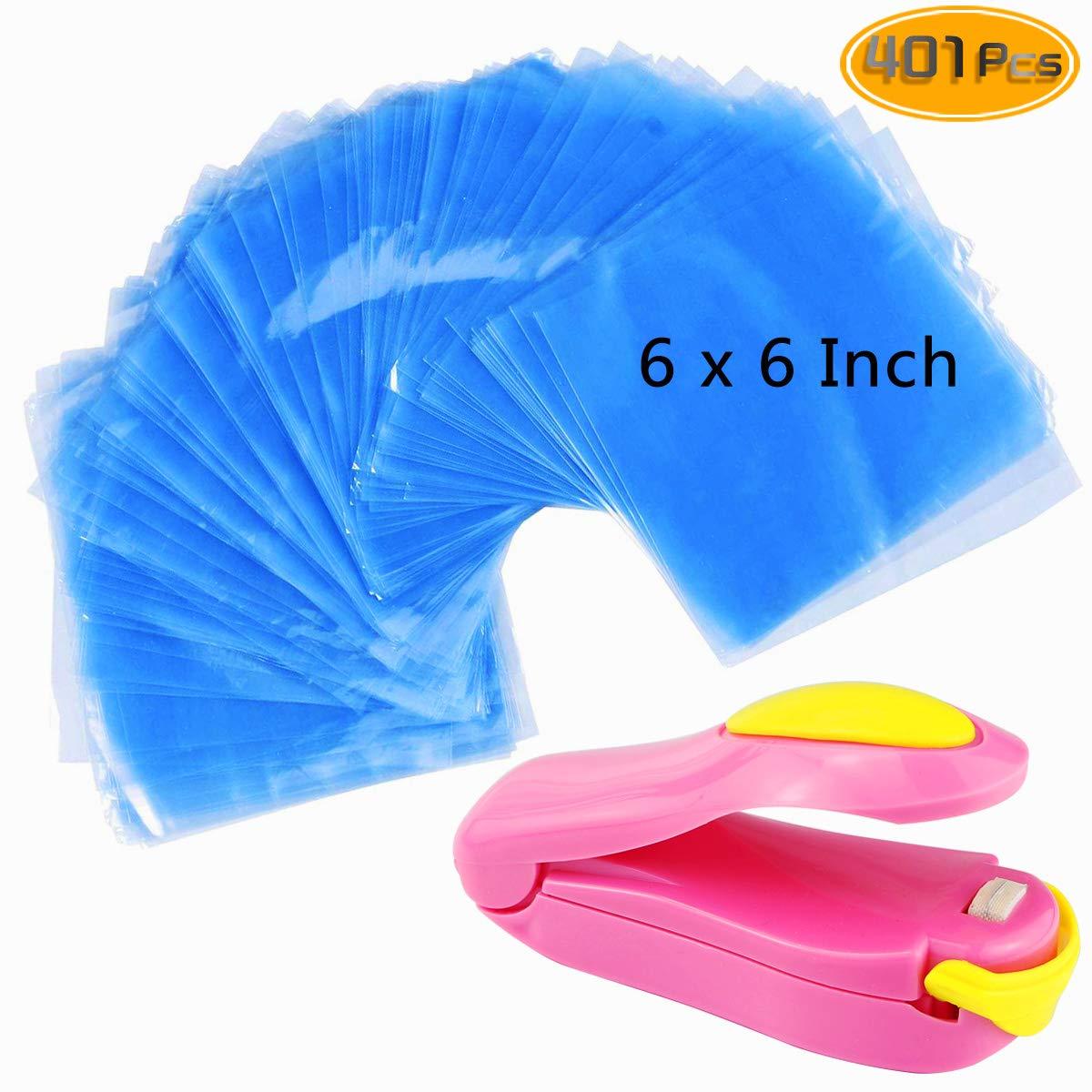 Kuqqi 400 pcs 6 x 6 inch Shrink Wrap Bags Bath Bombs and DIY Crafts Bonus Mini Heat Sealer Bags for Handmade Soaps