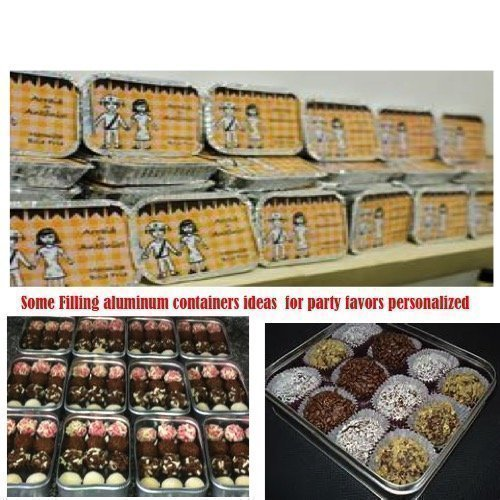 10 Pcs Mexican Boy Silver Aluminum Foil Trays Box With Personalized Paper Board Lid - All Party Theme Available