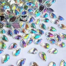 300Pcs 0.31x0.51″ Drop Shape Crystal AB Color Clear Acrylic Sew On Rhinestones Flatback Sewing Stones For Clothes Dress Crafts Garments Accessories