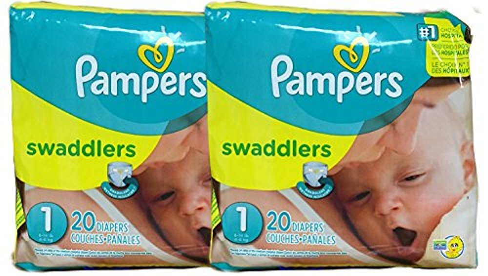 Pampers Swaddlers Diapers, Size 1, 20 Count Pack of 2 (Total of 40 Pampers) by Pampers