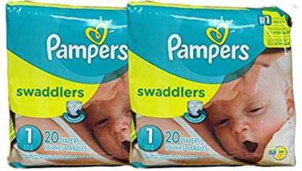Swaddlers Diapers Size NB Count Pack of 2 Total of 40 Pampers Comfort /& Protect