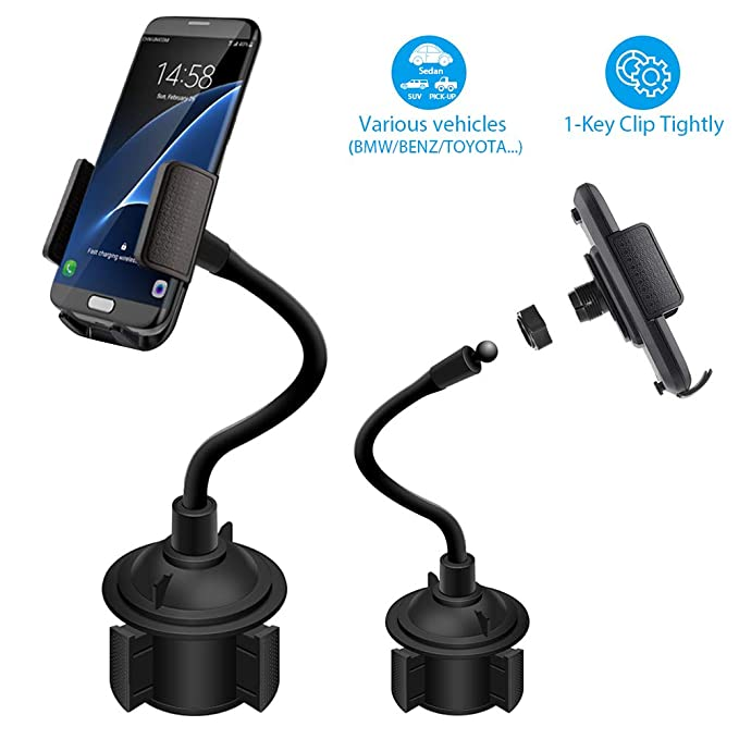 low priced 2c149 d6f70 Car Cup Holder Cell Phone Mount Compatible with iPhone Xs Max Android Phone  Cradle Bracket with Flexible Long Neck for Sedan,SUV (No Wireless Charger)