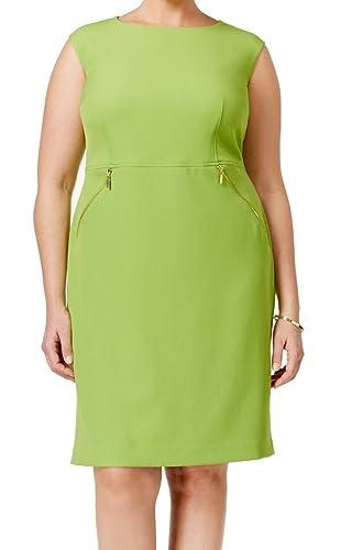 Kasper Womens Plus Crepe Zipper Wear to Work Dress