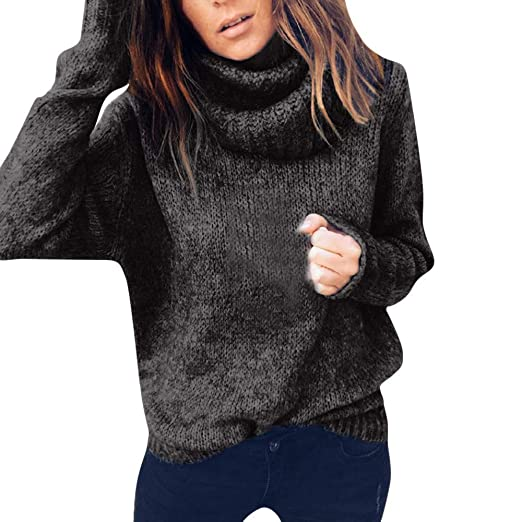 maxsoul Women s Womens Turtleneck Knitted Sweater Long Sleeve Solid Loose  Jumper Pullover Blouse 4 d77eecf77