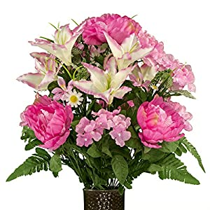 Ruby's Silk Flowers Pink Peonies and Hydrangea with Lilies, Featuring The Stay-in-The-Vase Design(C) Flower Holder (MD1996) 41