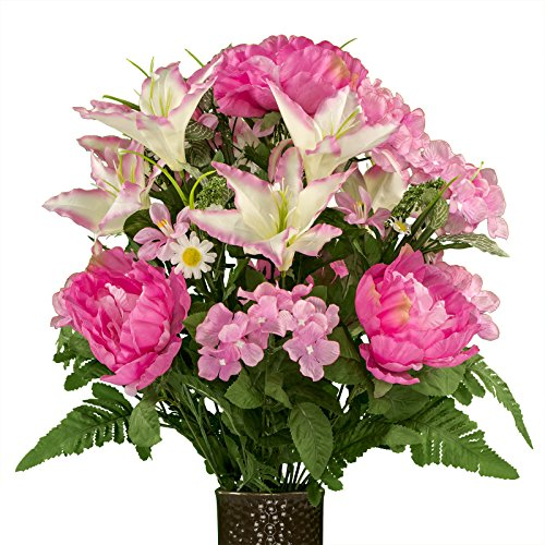 (Ruby's Silk Flowers Pink Peonies and Hydrangea with Lilies, Featuring The Stay-in-The-Vase Design(C) Flower Holder (MD1996))