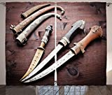 Arabian Decor Collection Arabian Ancient Daggers Knife Ancient Weapon Symbol of Protection Culture Picture Living Room Bedroom Curtain 2 Panels Set Dark Wood Grey