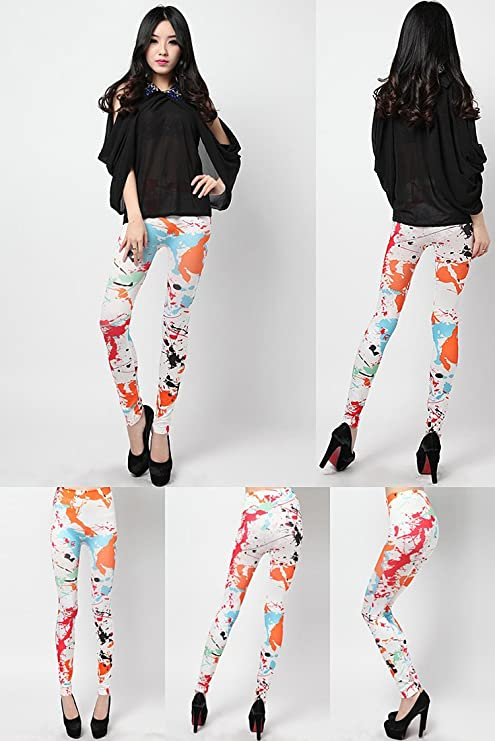 456c4334b62b Superbe Scribble coloré Jeans Look Femme Collants Maigre Leggings Pantalon   Amazon.fr  Vêtements et accessoires