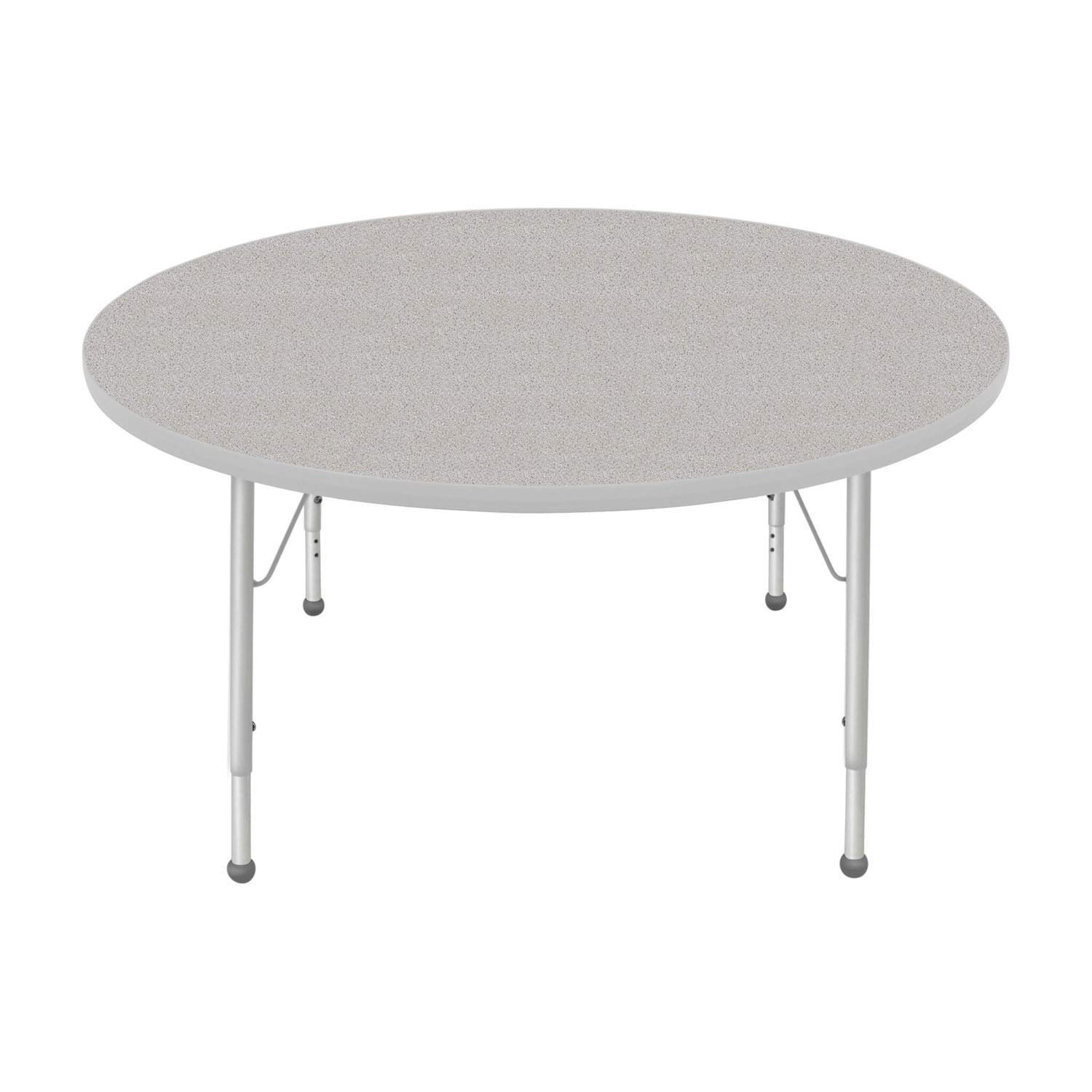 Creative Colors 48 Round Activity Table with Gray Nebula Top Platinum Silver Edge Ball Glide Standard Leg Height: 21-30