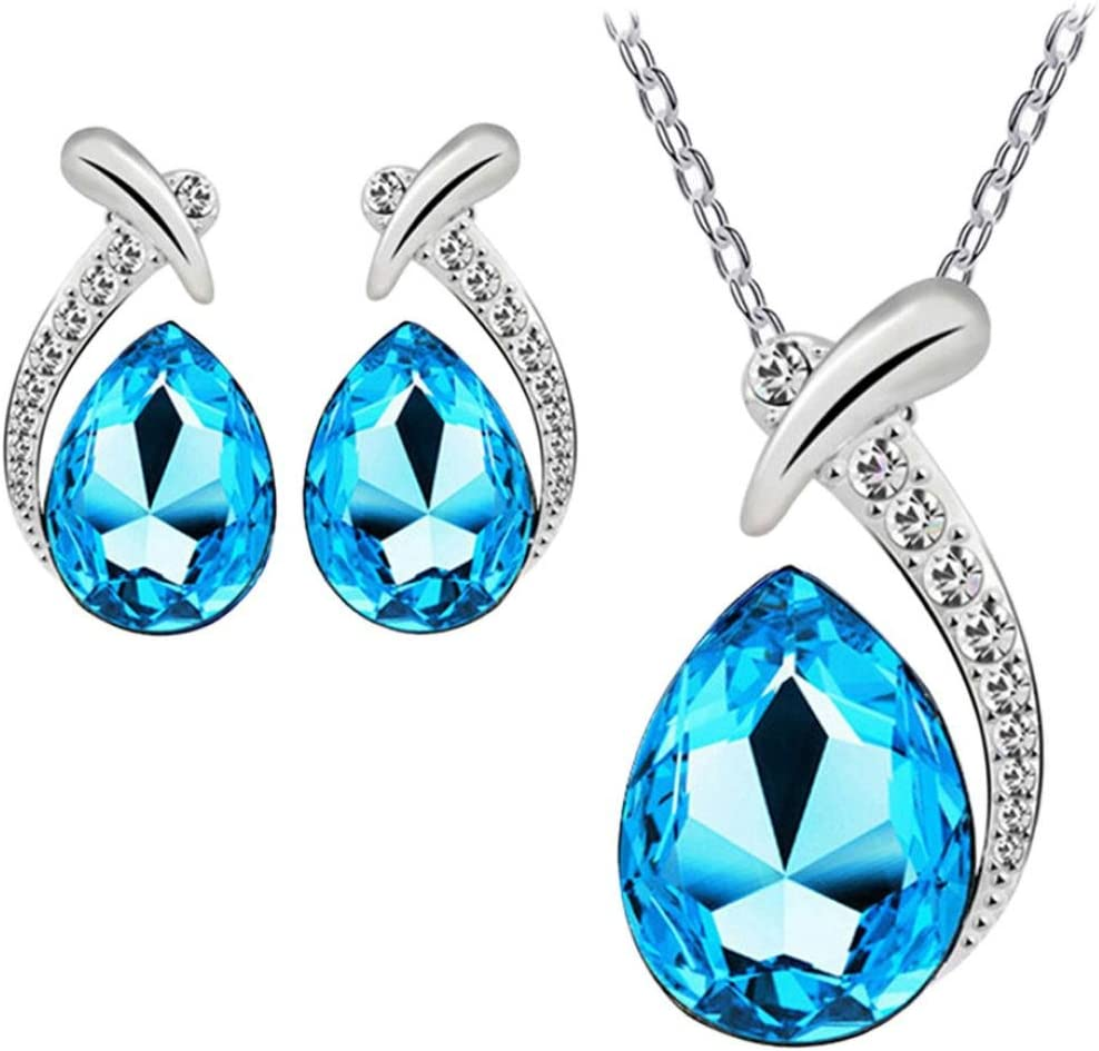 FAMILIZO Plata Cristal De Las Mujeres Plateado Pendiente De La Piedra Preciosa Brillante Cadena Sistema De La JoyeríA Del Collar Pendiente Del Perno (Azul)