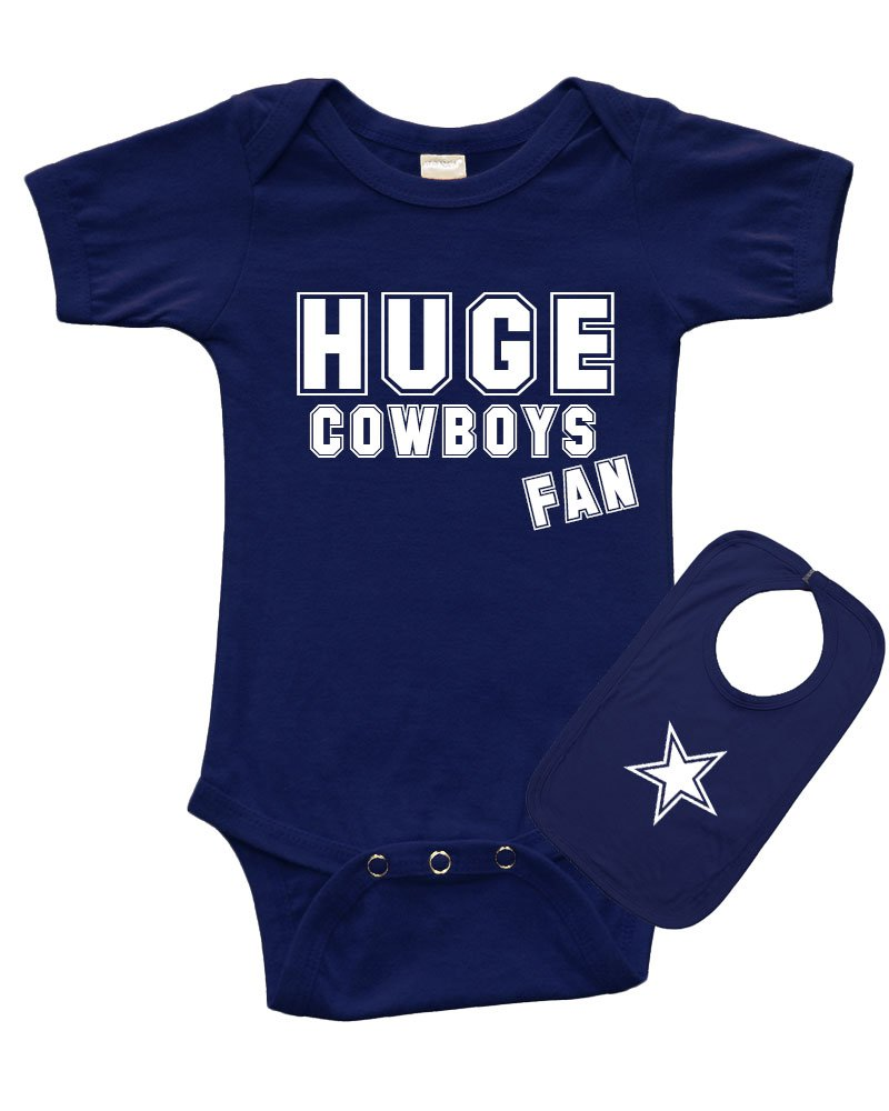 PandoraTees Short Sleeve Onesie + Bib Set - Huge Cowboys Fan, Navy Blue, 0-3m