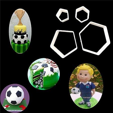 4pcs Hexágono Diseño de balón de fútbol con plástico Cake Mold ...
