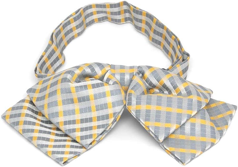 TieMart Dark Silver George Plaid Floppy Bow Tie