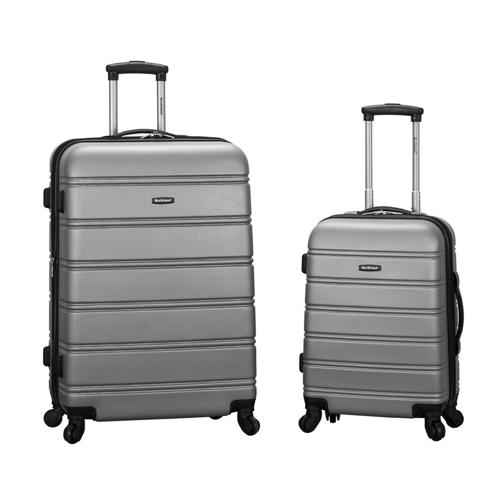 Silver Rockland Luggage 20 Inch and 28 Inch 2 Piece Expandable Spinner Set