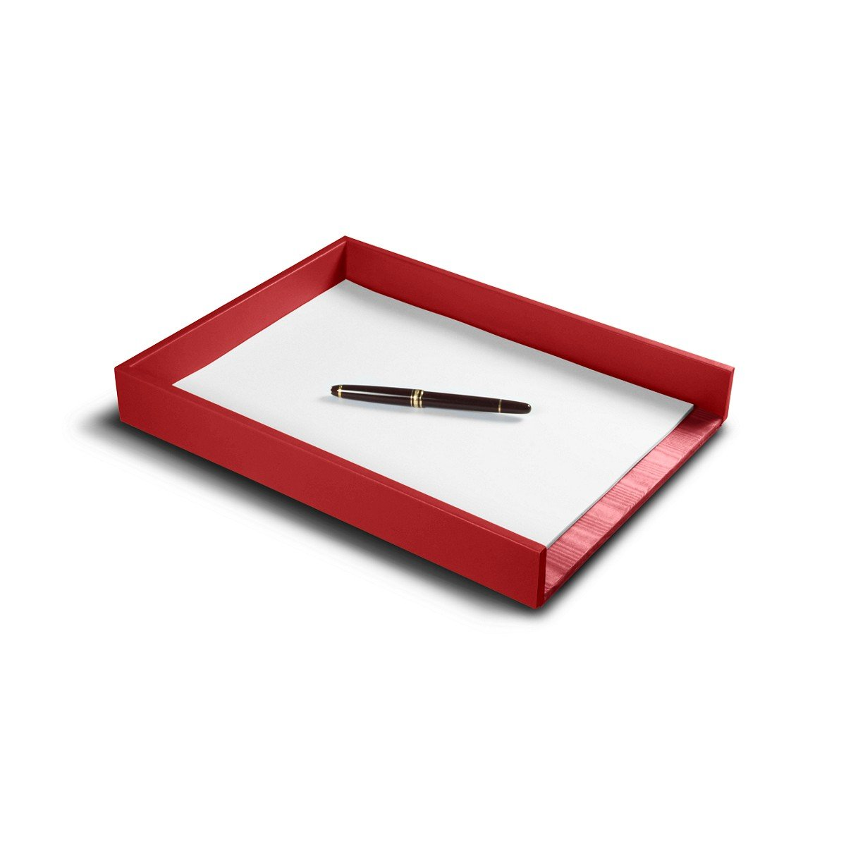 Lucrin - A4 Letter Tray - Red - Smooth Leather